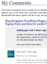 Example of My Comments feature on WordPress.com blogs