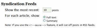 WordPress Panel to set feed length