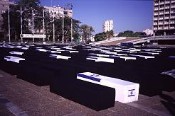 Coffins representing Israelis and Palestinians killed in the start of the current Intifada, 2000, photography copyright Lorelle VanFossen