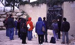 A group pays tribute to the Children's Memorial at the Yad Vashem Holocaust Museum in Jerusalem, photograph copyright Lorelle VanFossen