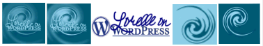 Examples of various looks and attempts at the Lorelle on WordPress logo - copyright Lorelle VanFossen