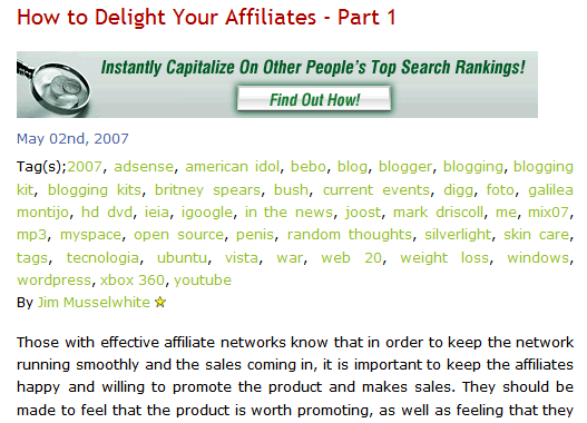 Example of misuse of tags for keyword spamming