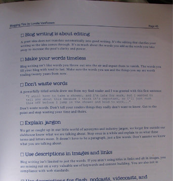Sample page from Blogging Tips book by Lorelle VanFossen