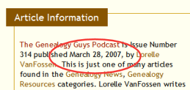 Example of the date in the post meta data section