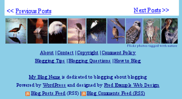 WordPress Footer - example of using a Flickr bar of images in the footer