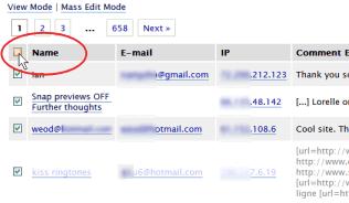 WordPress Mass Edit Mode Link - click check all