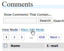WordPress Mass Edit Mode Link for comments and comments spam