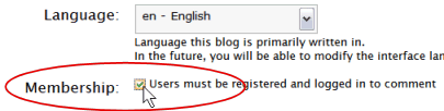 WordPress Administration Panel - Require registration in order to comment on the blog