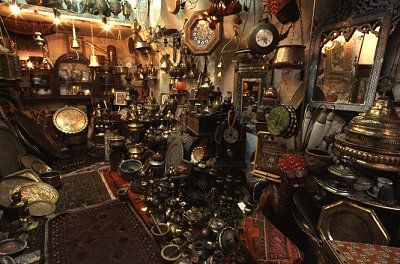Inside a shop of ancient trinkets and gifts in the Old City of Jerusalem. Copyright Lorelle VanFossen