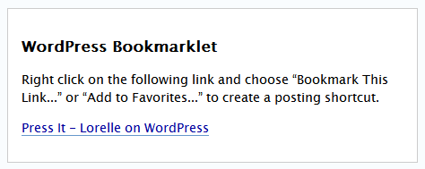WordPress Press It Bookmarklet