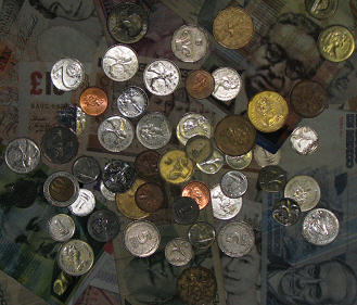 photograph of coins and bills copyright by Lorelle VanFossen - no use without permission