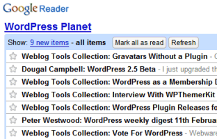 Google Reader example of WordPress blogs I track