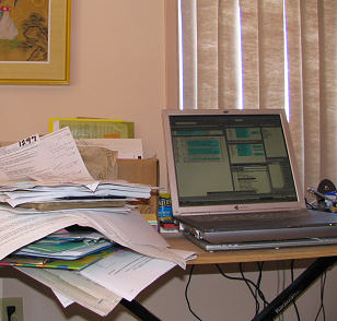 Laptop on temporary table while traveling and researching genealogy - photograph copyrighted Lorelle VanFossen