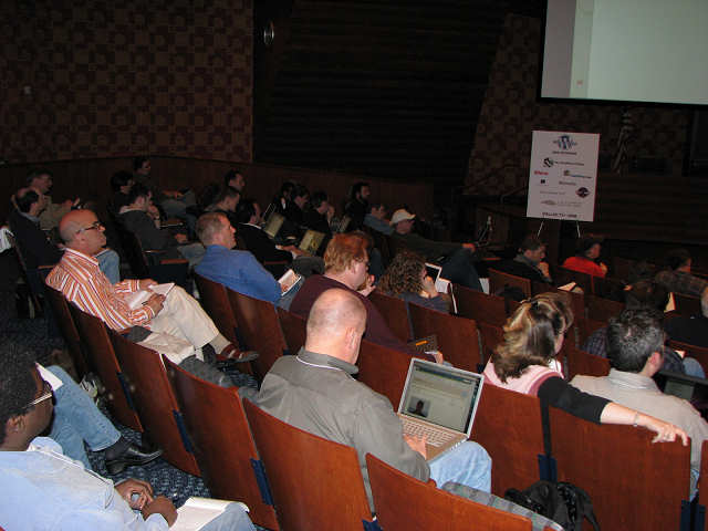 WordCamp Dallas audience of laptops