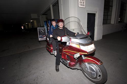 Lorelle VanFossen and Andy Skelton on motorcycle - WordCamp 2007