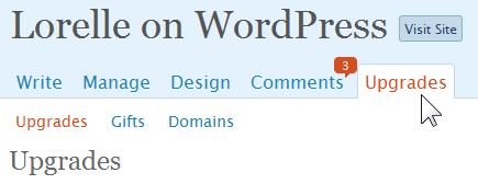 WordPress.com Upgrades Panel