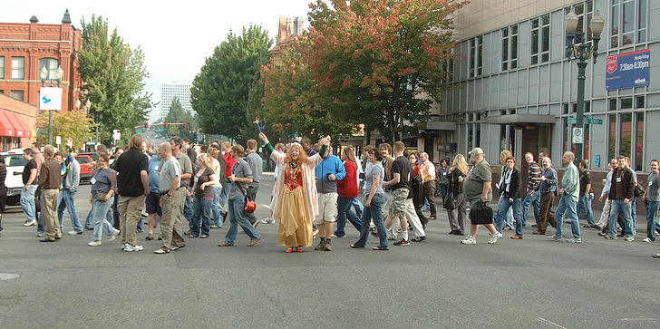 Lorelle as the WordPress Fairy Blog Mother in Portland, Oregon, WordCamp, takes over the streets with the WordCamp
