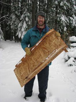 Brent VanFossen with his homemade wooden sled