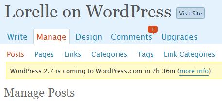 Countdown on WordPress.com blogs for WordPress 2.7