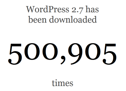 WordPress 2.7 passing 500,000 downloads