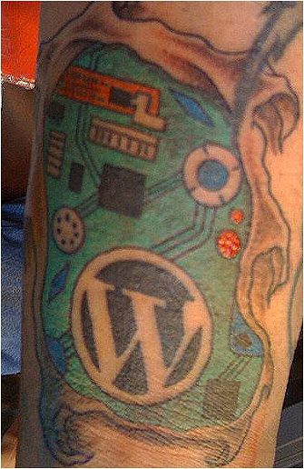 Ed Morita's WordPress logo tattoo right side up