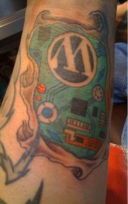 Ed Morita - Final color on WordPress logo tattoo