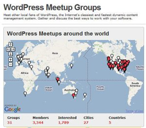 WordCamp Meetups Map at Meetups.com