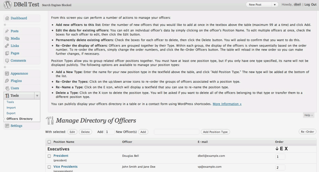 Officers Directory WordPress Plugin - Contextual Help Menu