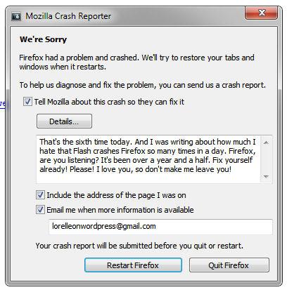 Firefox sample crash report popup