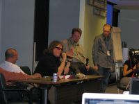 Jay Jay French of Twisted Sisters, Chris Brogan, and Terry Starbucker lead a panel discussion at SOBCon