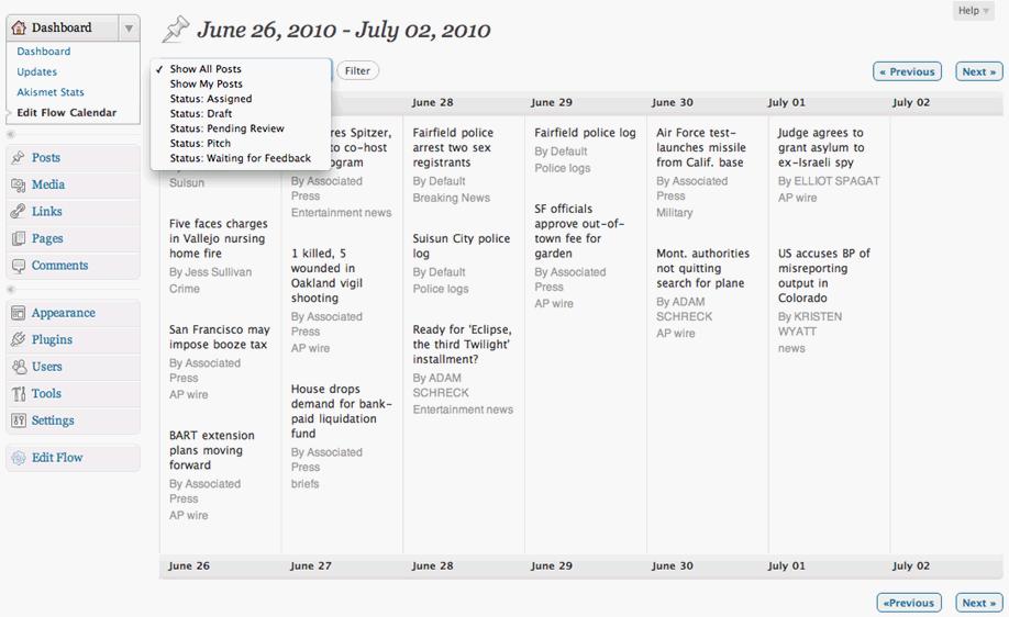 Edit Flow WordPress Plugin Editorial Calendar