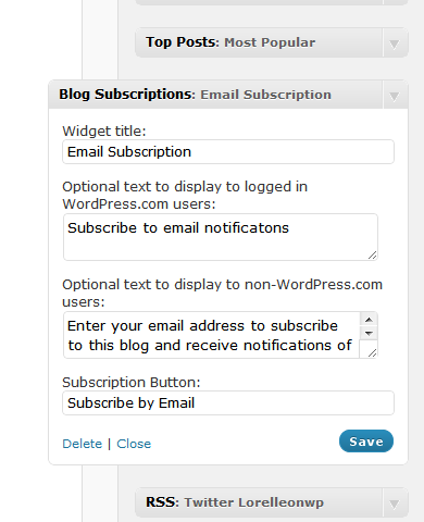 Email Subscription option Widget in WordPress.com
