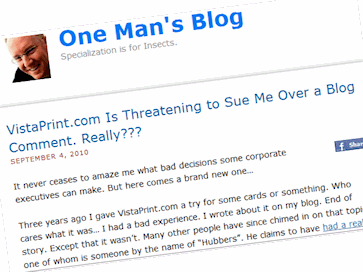 One Man's Blog Sued Over Blog Comments