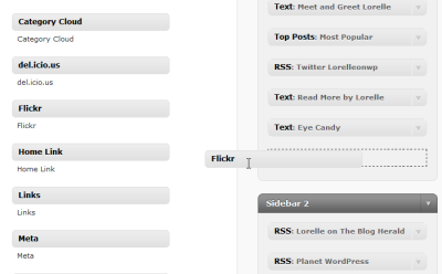 Click and drag widget to the sidebar in WordPress.com