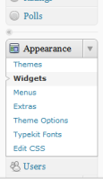 WordPress Widgets Menu under Appearance