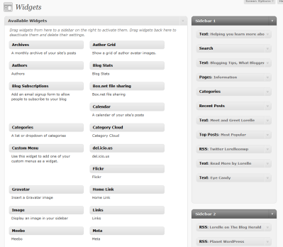 Example of the Widgets Panel in WordPress.com