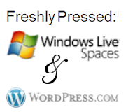 Logos of Windows Live Spaces and WordPress.com.