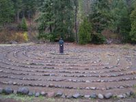 Brent VanFossen standing in the prayer labyrinth at Breitenbush Hot Springs, Oregon