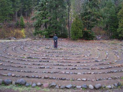 Brent VanFossen standing in the prayer labyrinth at Breitenbush Hot Springs, Oregon