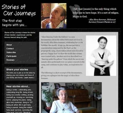 Alice Herz-Sommer featured on Stories of Our Journeys