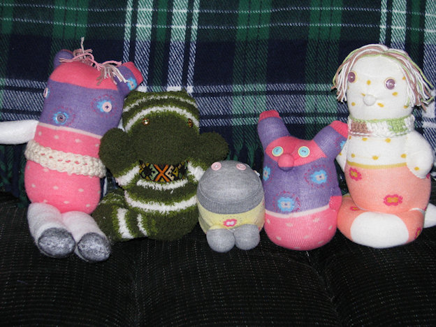 Sock dolls made by Lorelle VanFossen
