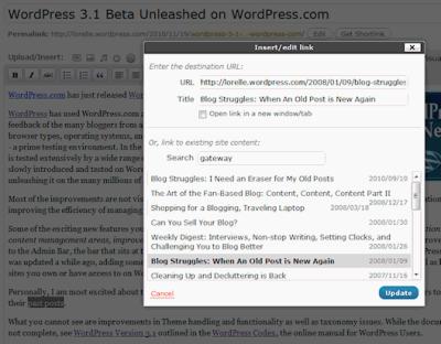Internal links new feature in WordPress 3.1