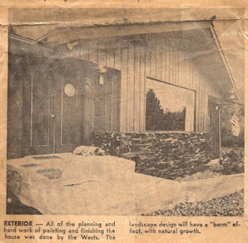 Family home by Lorelle, newspaper article 1969 featuring moon on front door