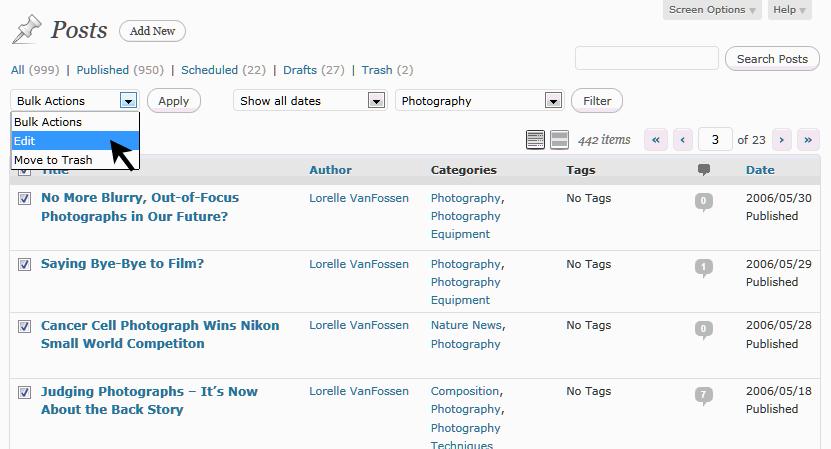 Bulk Edit Drop Down Feature in WordPress
