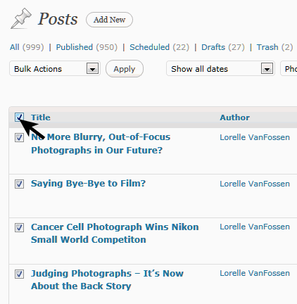 WordPress Posts - select all posts in list
