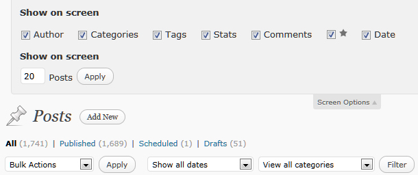 WordPress Post View  - set the quantity of posts viewed through Screen Options