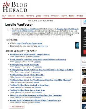author page - blog herald lorelle vanfossen