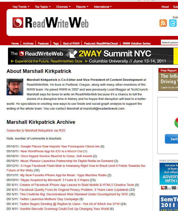 author page - readwriteweb chronological