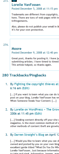Trackbacks and comments example in WordPress