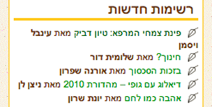 Example of author list with author and most recent post in Hebrew